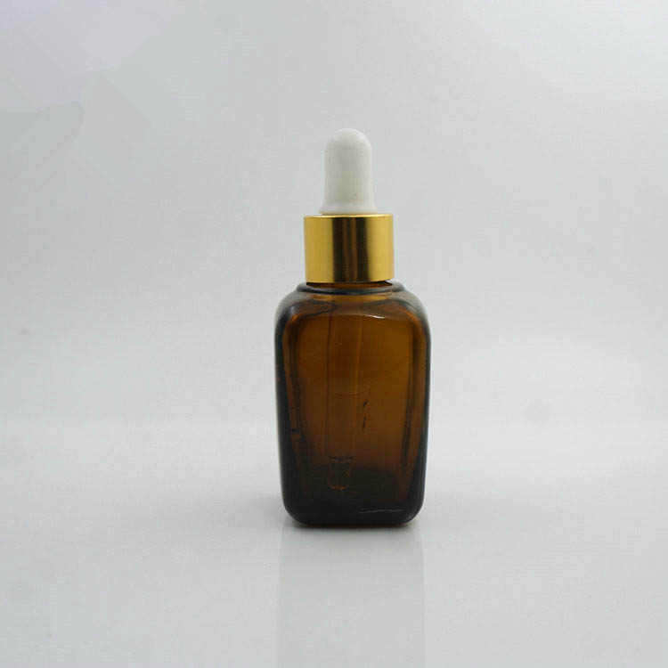 Square Amber Glass Bottle/ Essential Oil Glass Bottle / Amber Glass Dropper Bottle Cosmetic Packaging Glass Amber Bottle - 副本